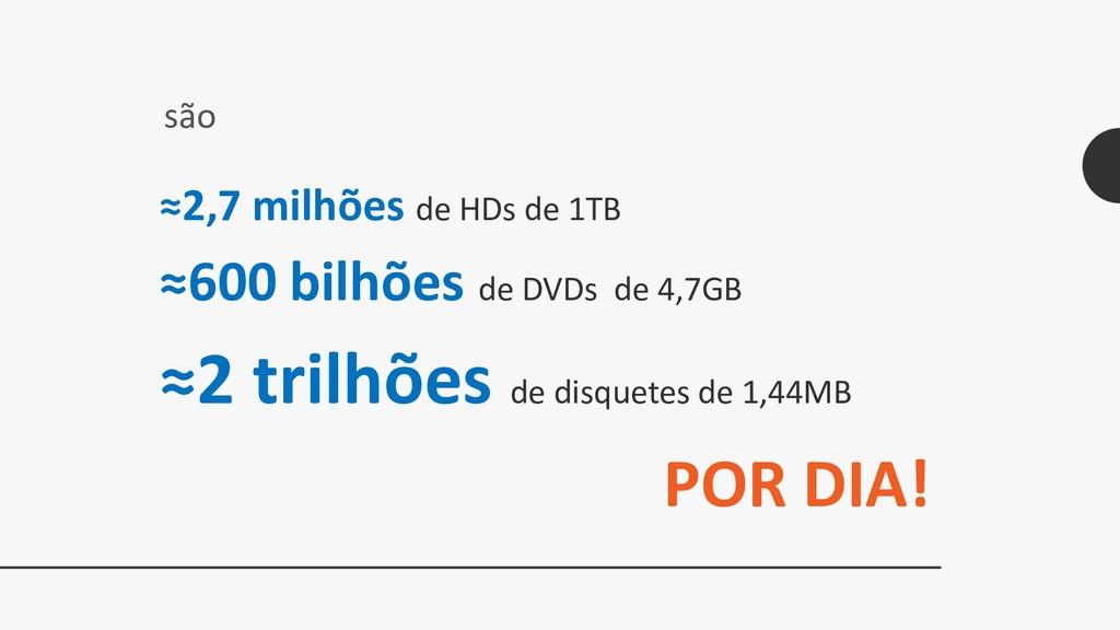 ≈2,7 milhões de HDs de 1TB ≈600 bilhões de DVDs...
