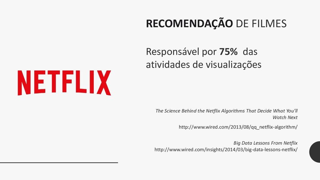 RECOMENDAÇÃO DE FILMES Responsável por 75% das ...