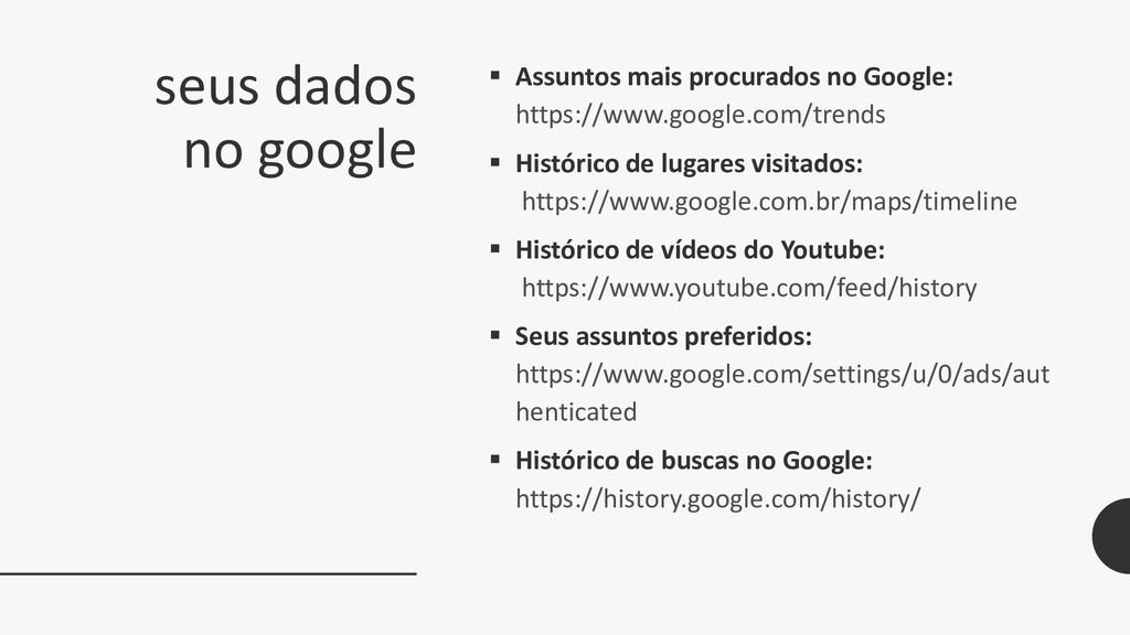 seus dados no google  Assuntos mais procurados...