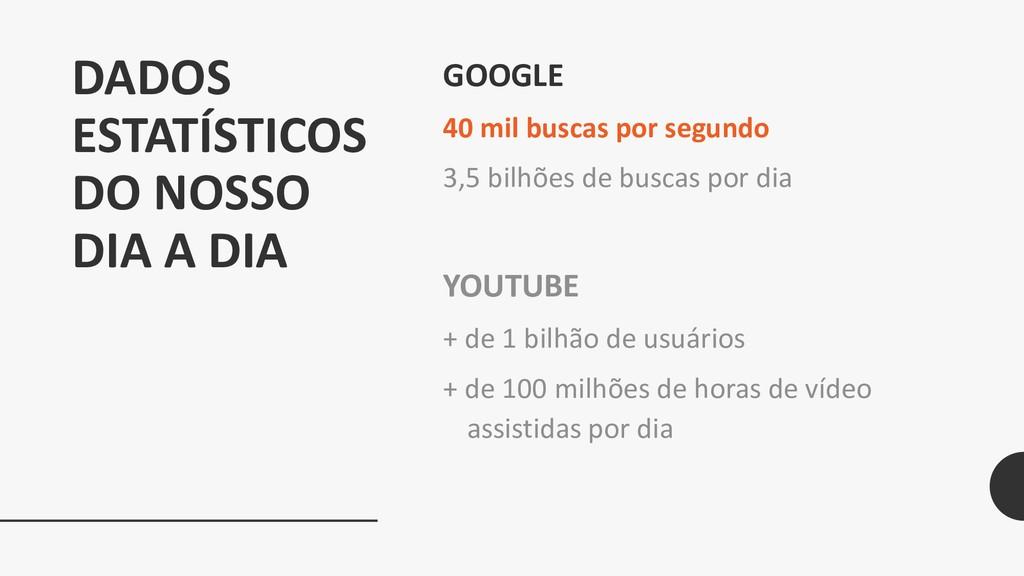 DADOS ESTATÍSTICOS DO NOSSO DIA A DIA GOOGLE 40...