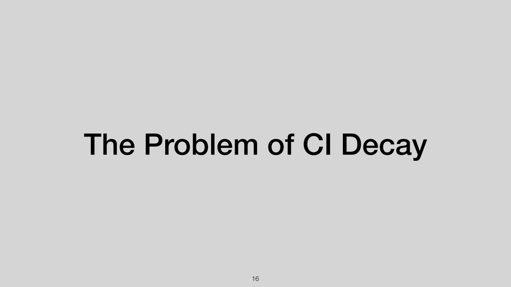 The Problem of CI Decay !16