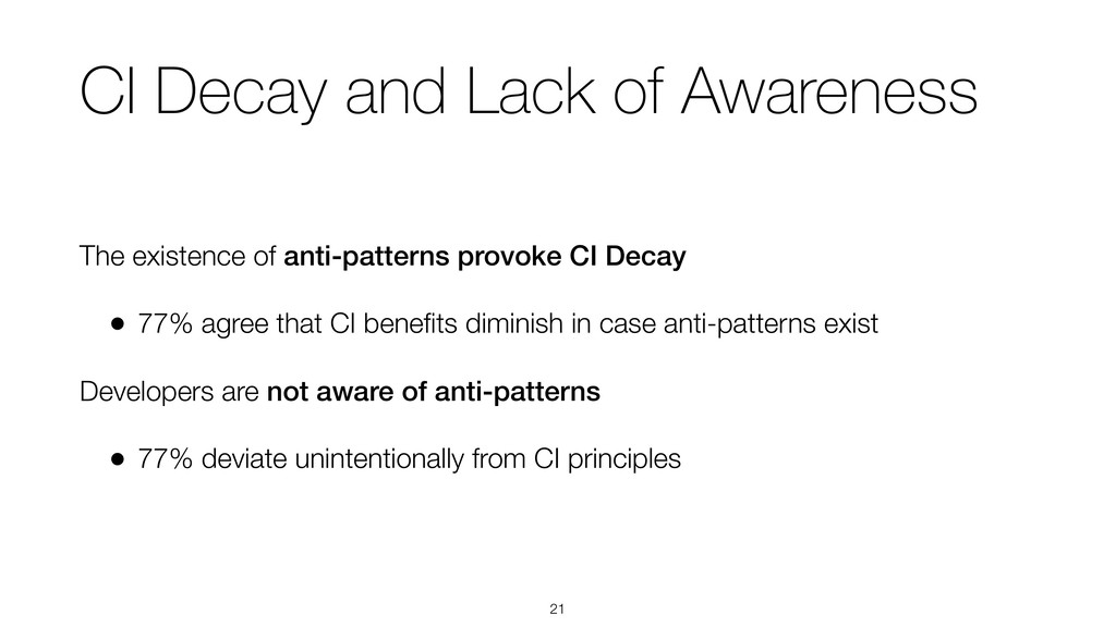 CI Decay and Lack of Awareness The existence of...