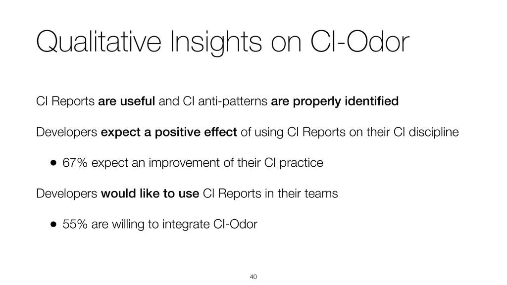 Qualitative Insights on CI-Odor CI Reports are ...