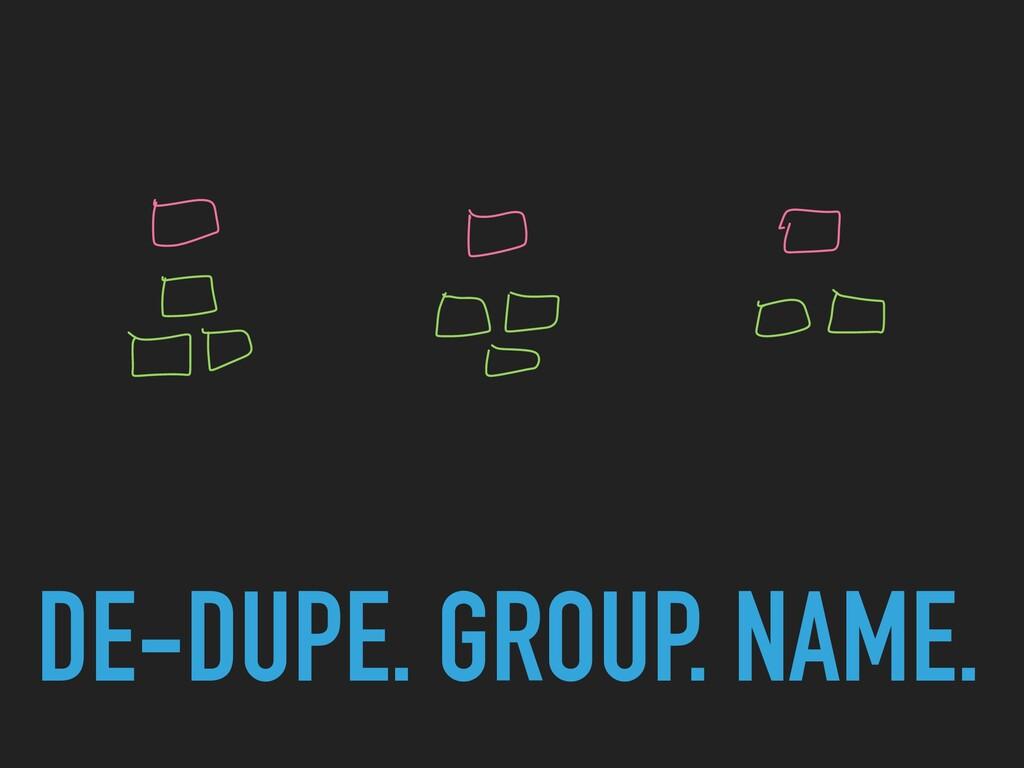 DE-DUPE. GROUP. NAME.