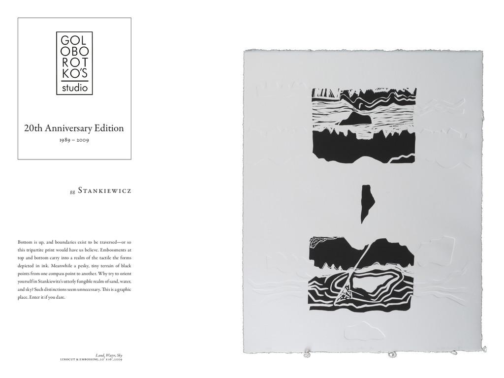 "Land, Water, Sky linocut & embossing, 20"" x 16""..."