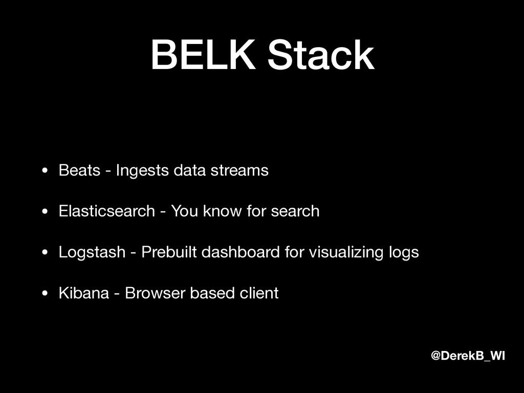 @DerekB_WI BELK Stack • Beats - Ingests data st...