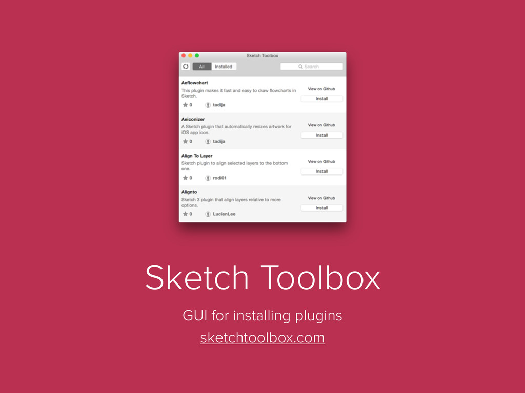 Sketch Toolbox GUI for installing plugins sketc...