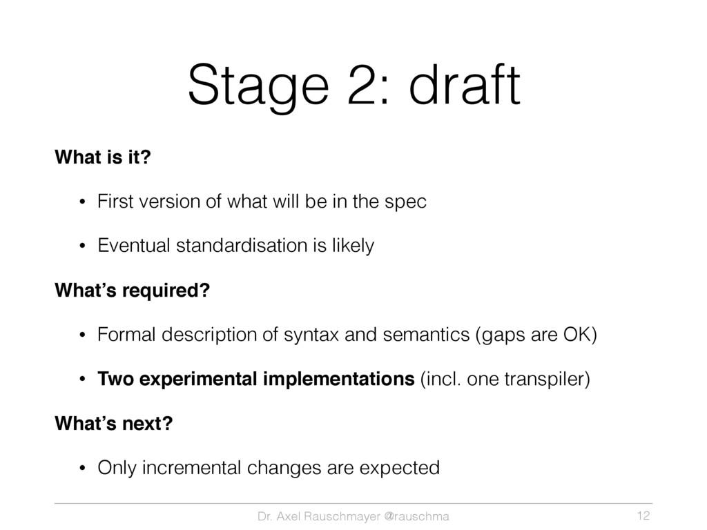 Dr. Axel Rauschmayer @rauschma Stage 2: draft W...