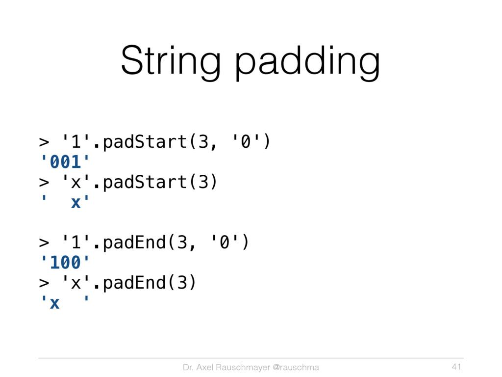 Dr. Axel Rauschmayer @rauschma String padding >...