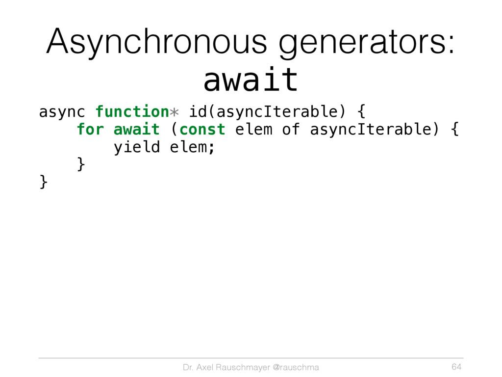 Dr. Axel Rauschmayer @rauschma Asynchronous gen...