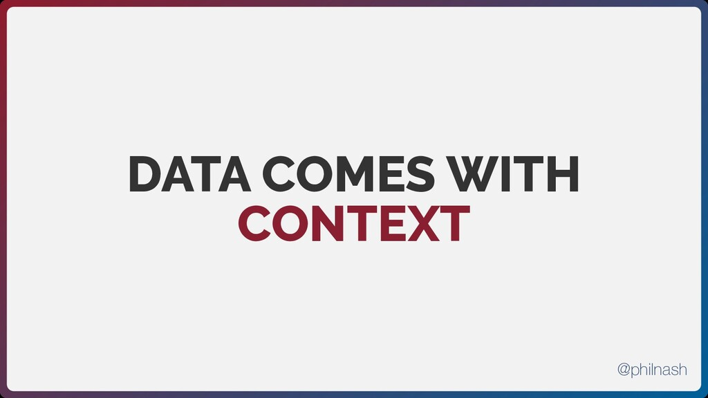 DATA COMES WITH CONTEXT @philnash