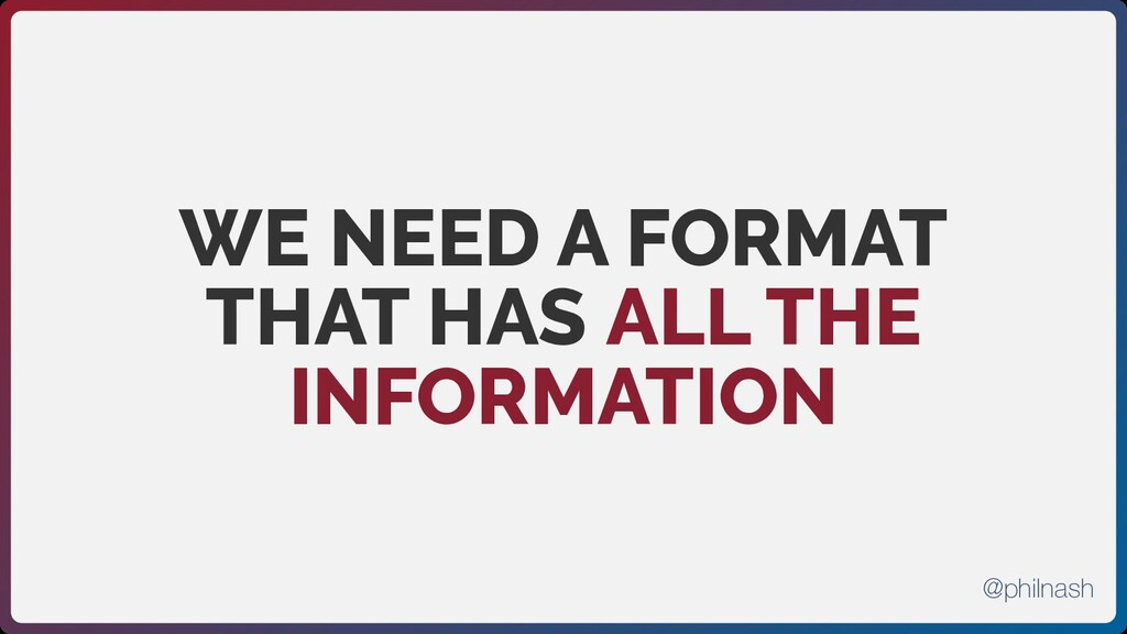 WE NEED A FORMAT THAT HAS ALL THE INFORMATION @...