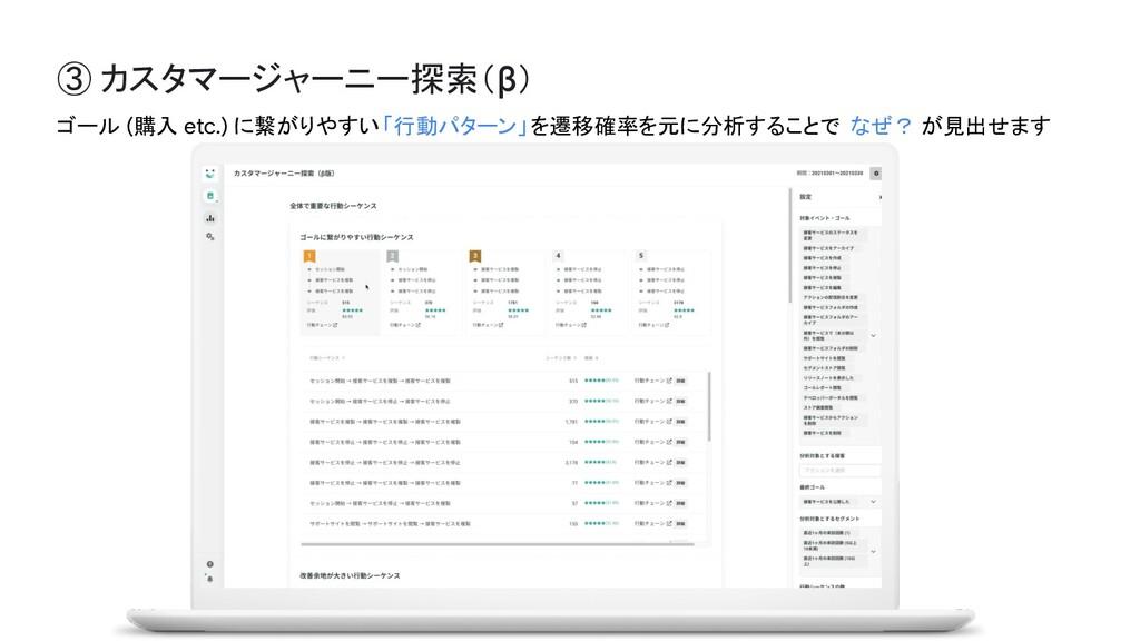 ③ カスタマージャーニー探索(β) ゴール (購入 etc.) に繋がりやすい「行動パターン」...