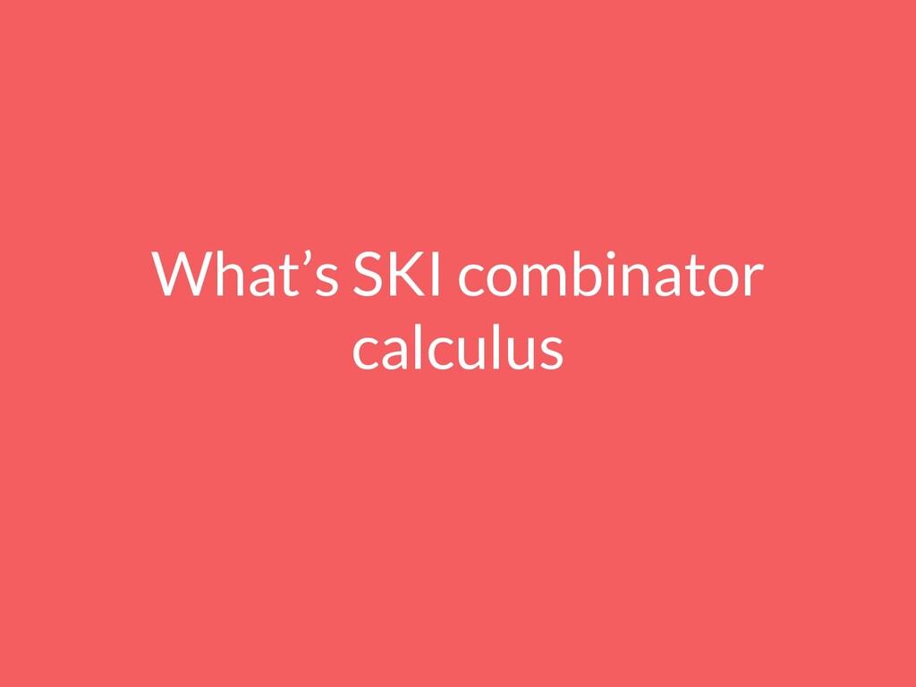 What's SKI combinator calculus