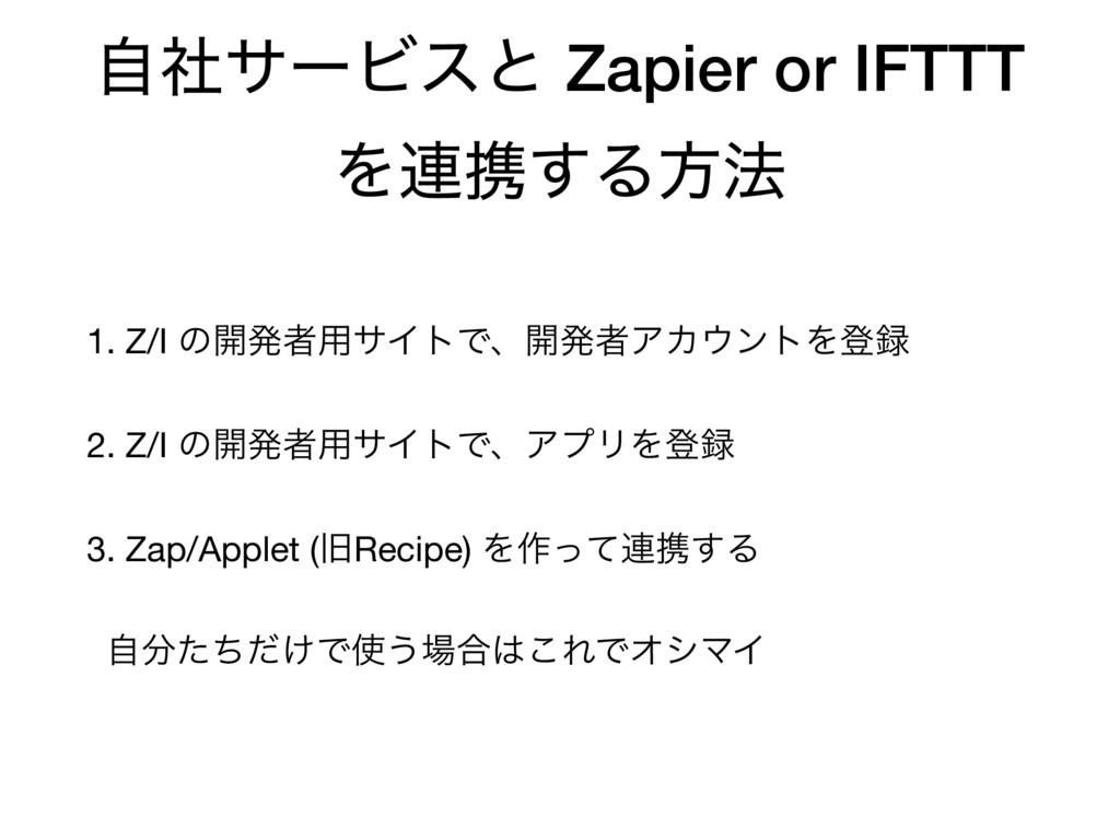 ࣗࣾαʔϏεͱ Zapier or IFTTT Λ࿈ܞ͢Δํ๏ 1. Z/I ͷ։ൃऀ༻αΠτ...