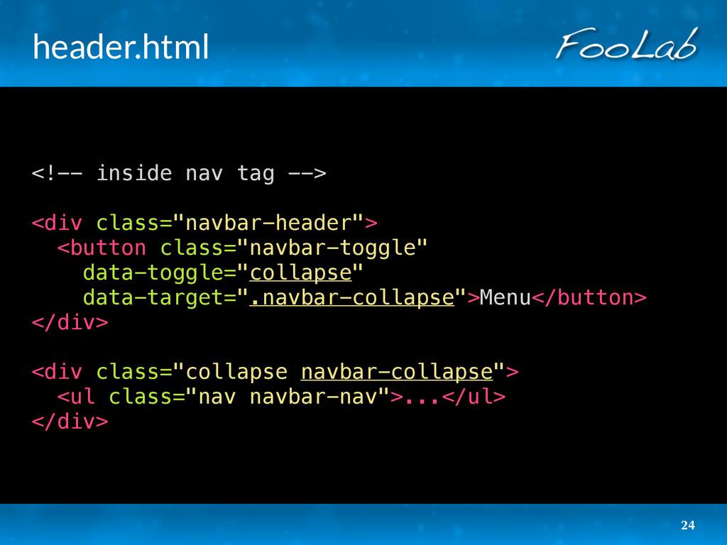 header.html <!-- inside nav tag --> <div class=...