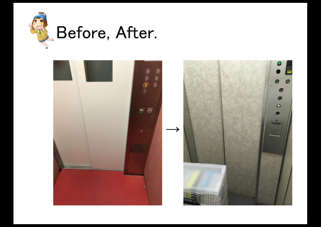 Before, After. →