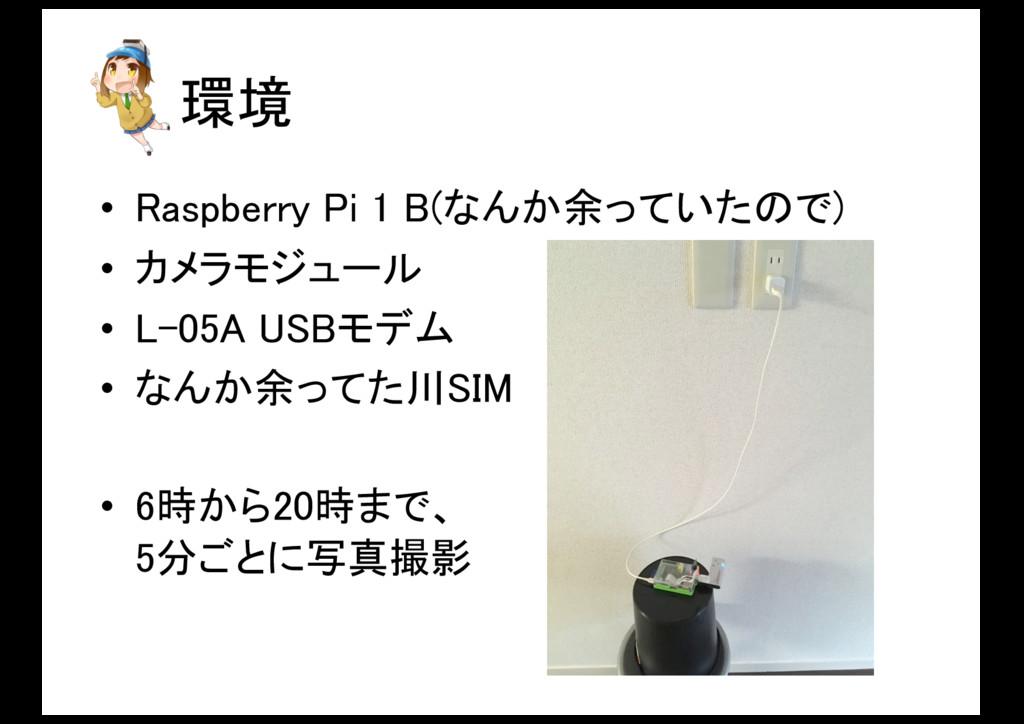 環境 • Raspberry Pi 1 B(なんか余っていたので) • カメラモジュール • ...