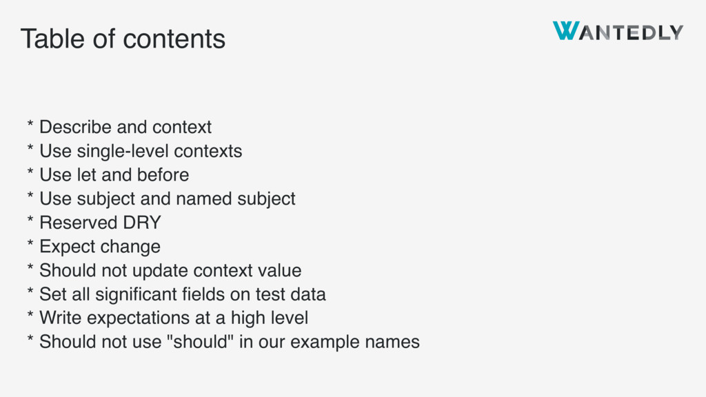 Table of contents * Describe and context * Use ...