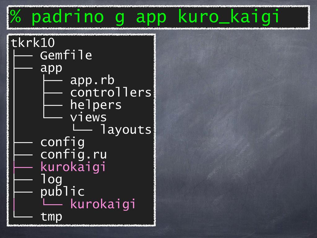 % padrino g app kuro_kaigi tkrk10 ├── Gemfile ├...