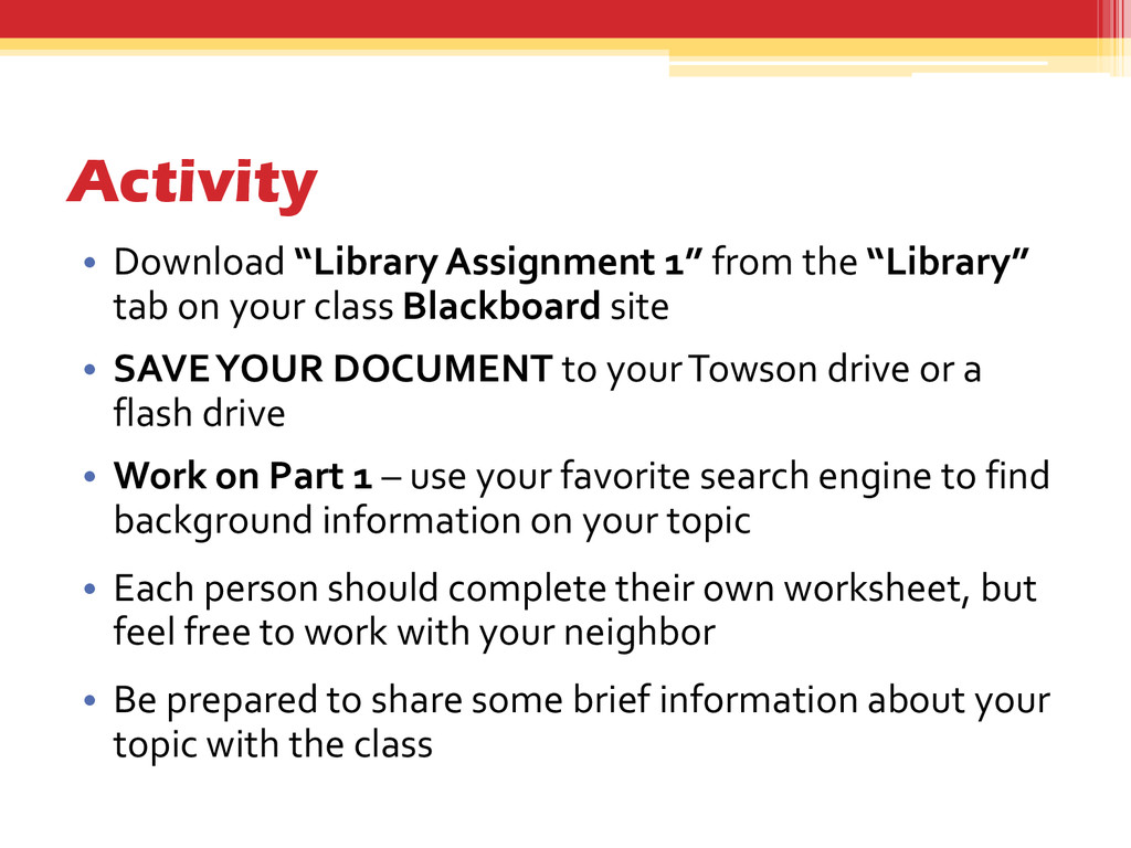 """Activity • Download """"Library Assignment 1"""" from..."""
