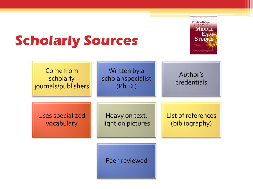 Scholarly Sources Come from scholarly journals/...