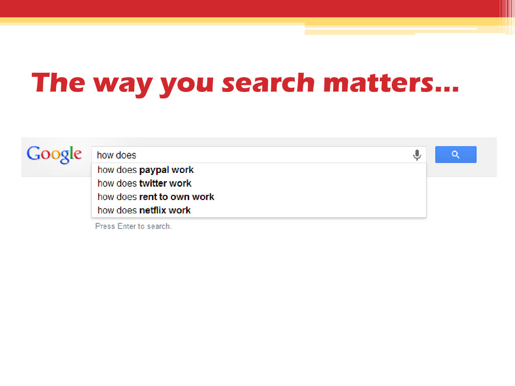 The way you search matters…