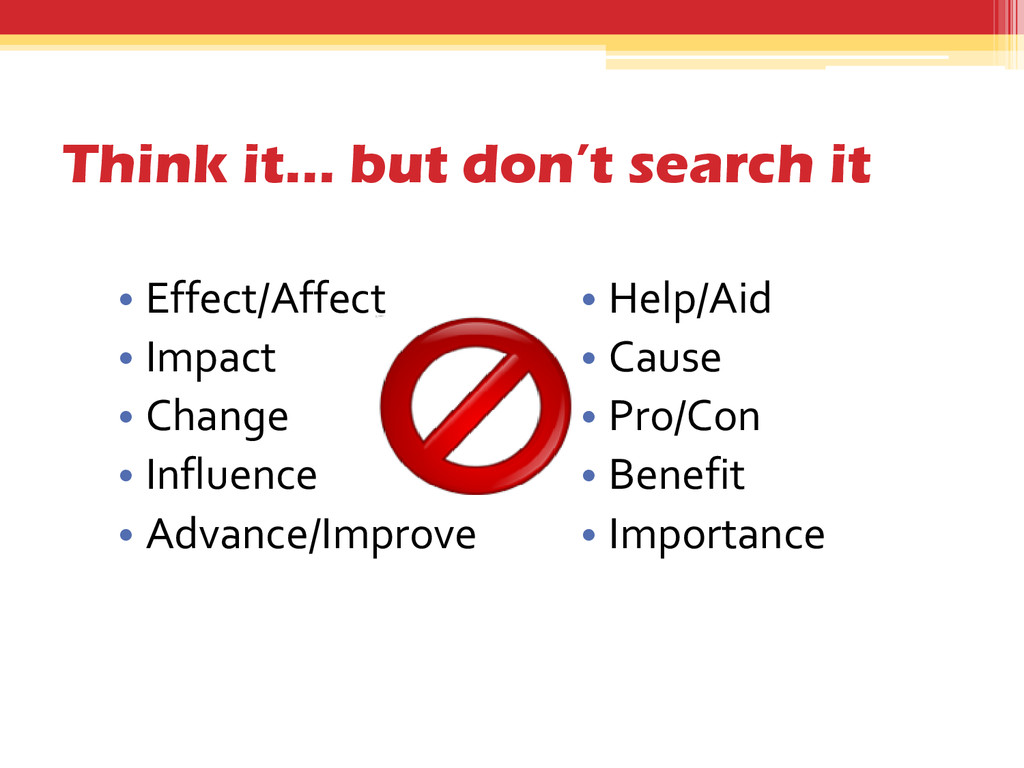 Think it… but don't search it • Effect/Affect •...