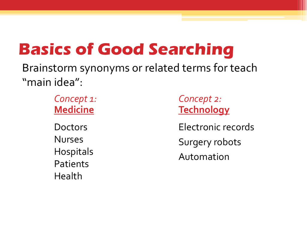 Basics of Good Searching Brainstorm synonyms or...