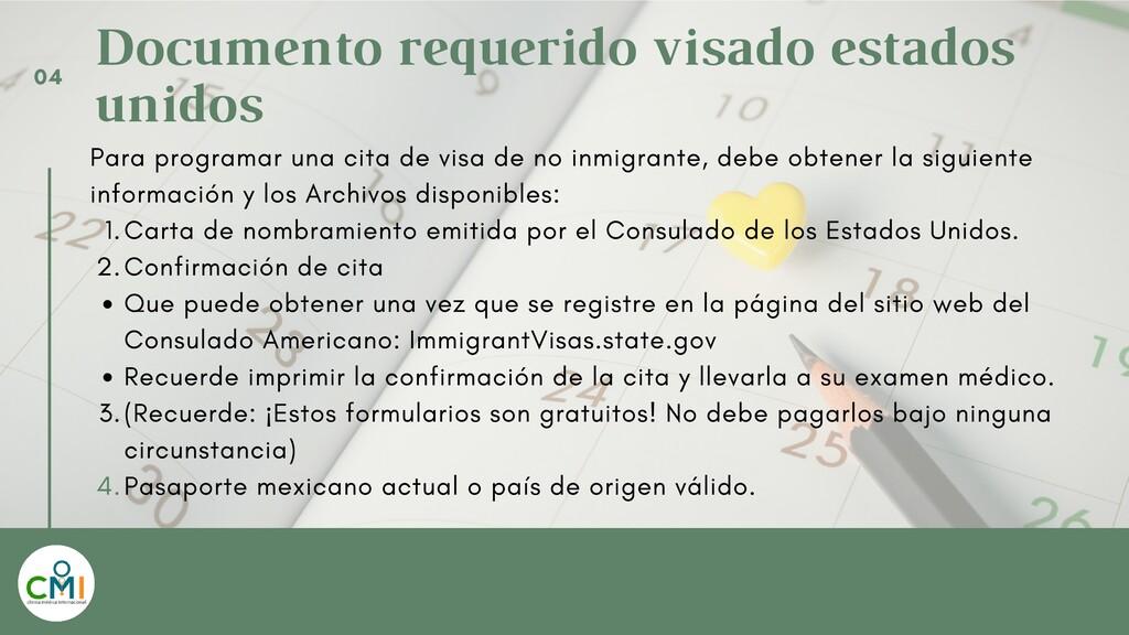 Documento requerido visado estados unidos Carta...