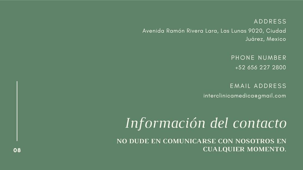 08 Información del contacto NO DUDE EN COMUNICA...