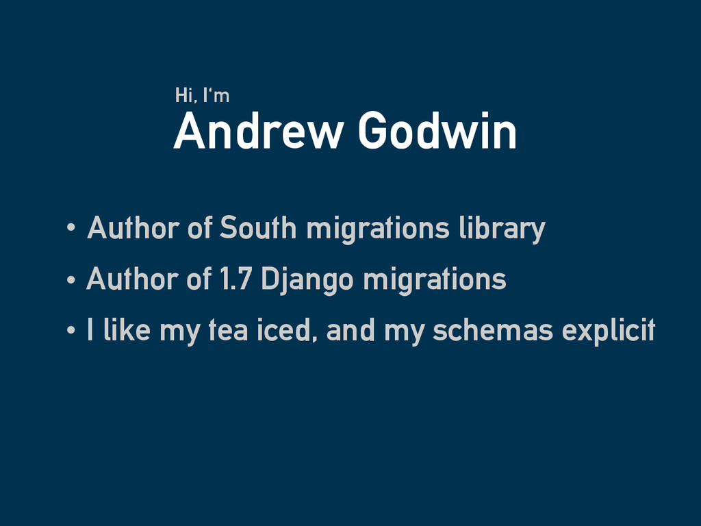 Andrew Godwin Author of South migrations librar...