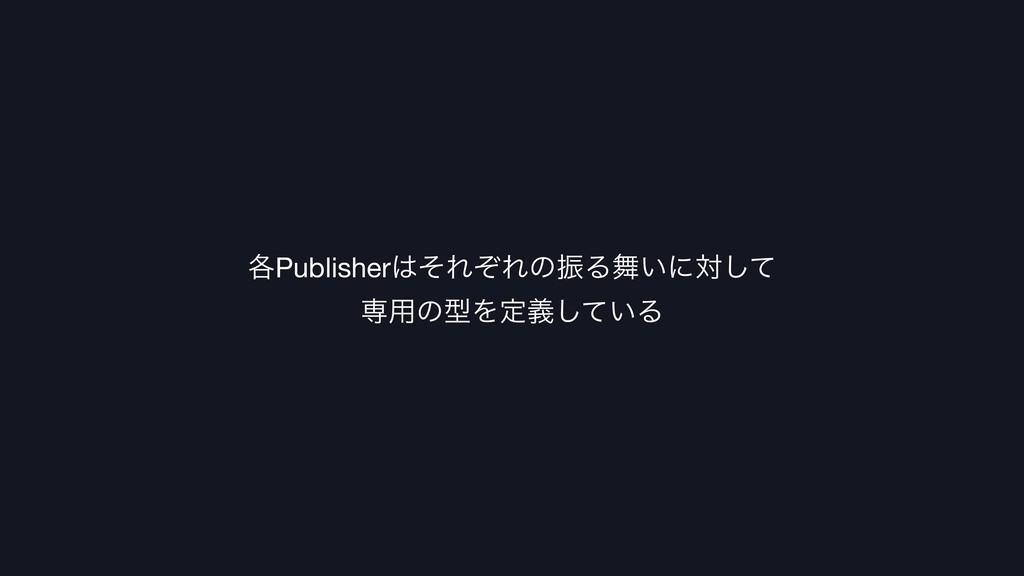 ֤PublisherͦΕͧΕͷৼΔ͍ʹରͯ͠  ઐ༻ͷܕΛఆ͍ٛͯ͠Δ