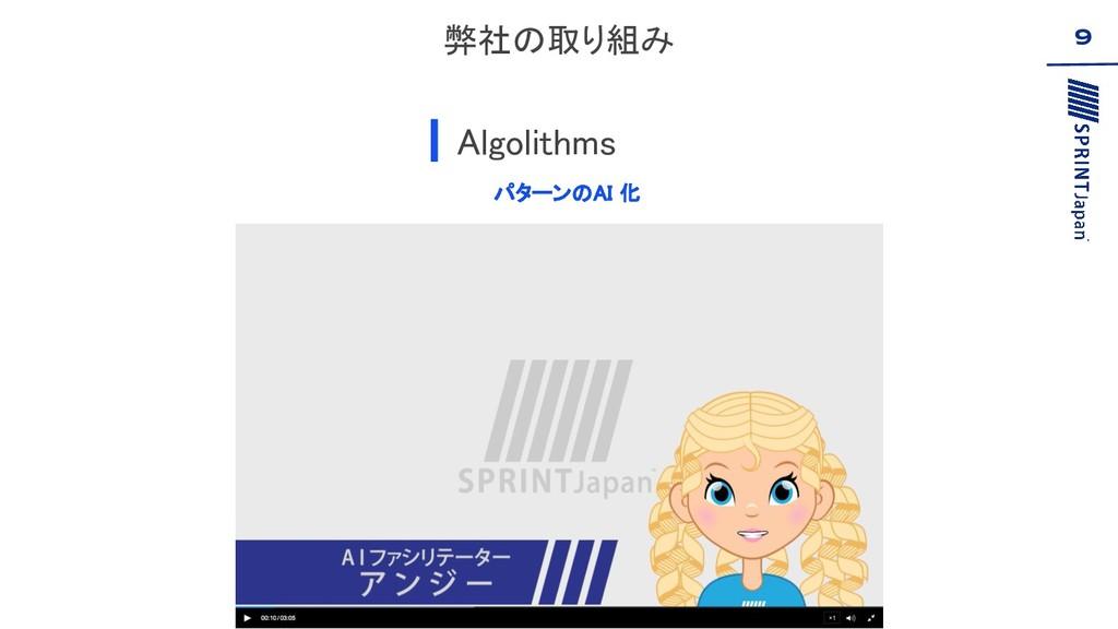 弊社の取り組み Algolithms 9 パターンのAI 化