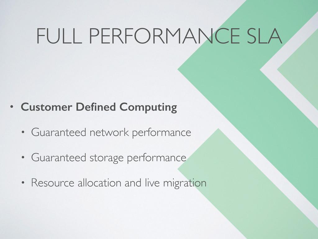 FULL PERFORMANCE SLA • Customer Defined Computin...
