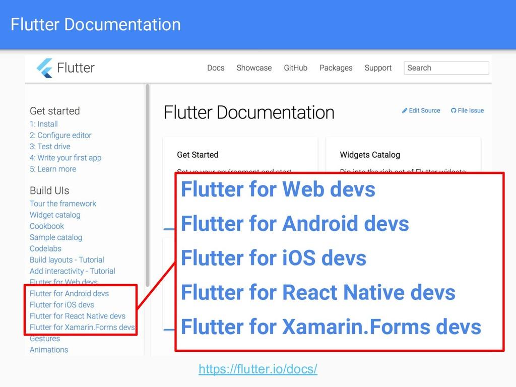Flutter Documentation https://flutter.io/docs/ ...