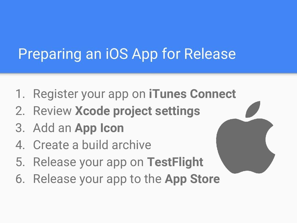 Preparing an iOS App for Release 1. Register yo...