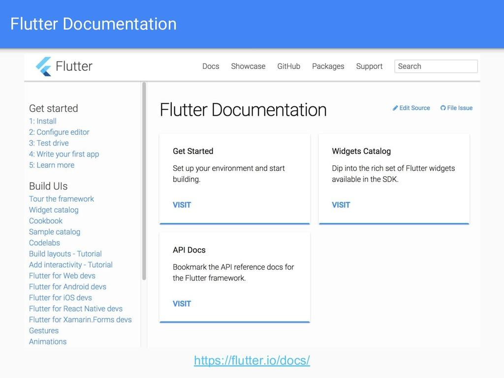 Flutter Documentation https://flutter.io/docs/