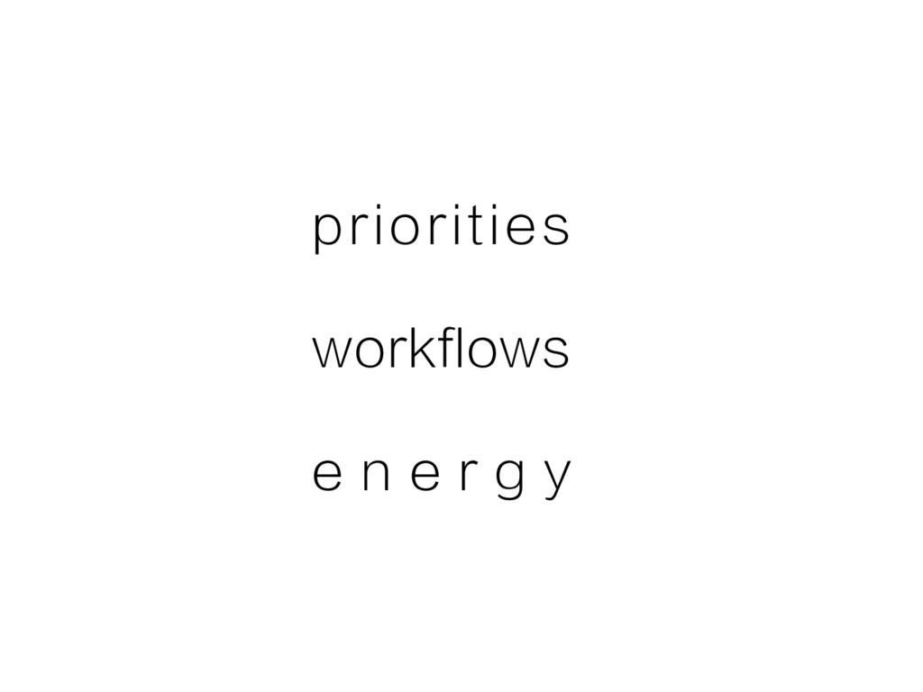 priorities workflows e n e r g y
