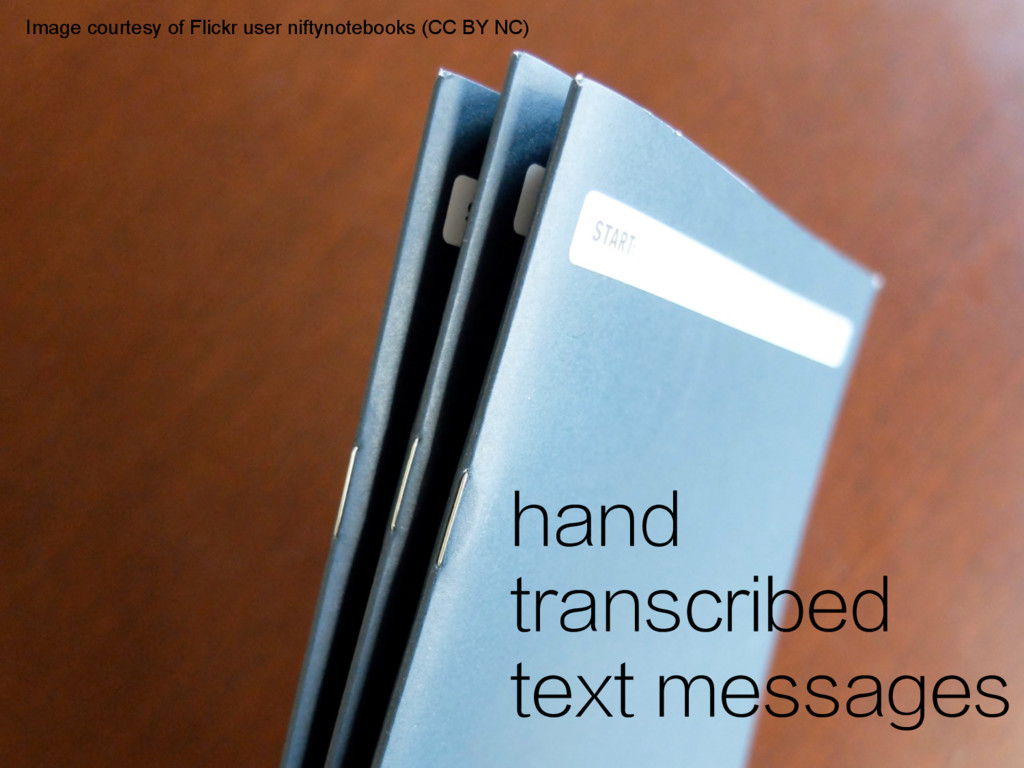 hand transcribed text messages Image courtesy o...
