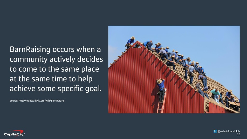 20 BarnRaising occurs when a community actively...