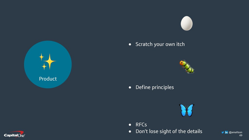 49  ● Scratch your own itch  ● Define principle...