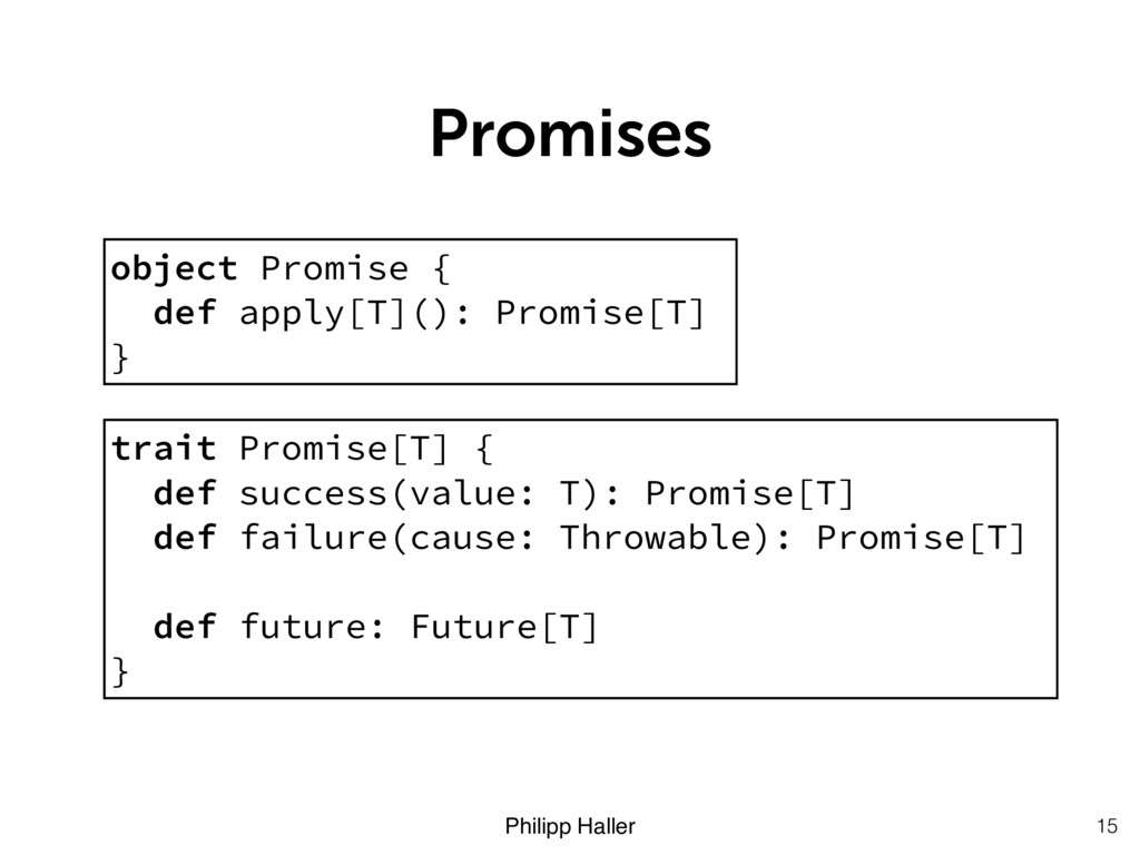 Philipp Haller Promises 15 object Promise { def...