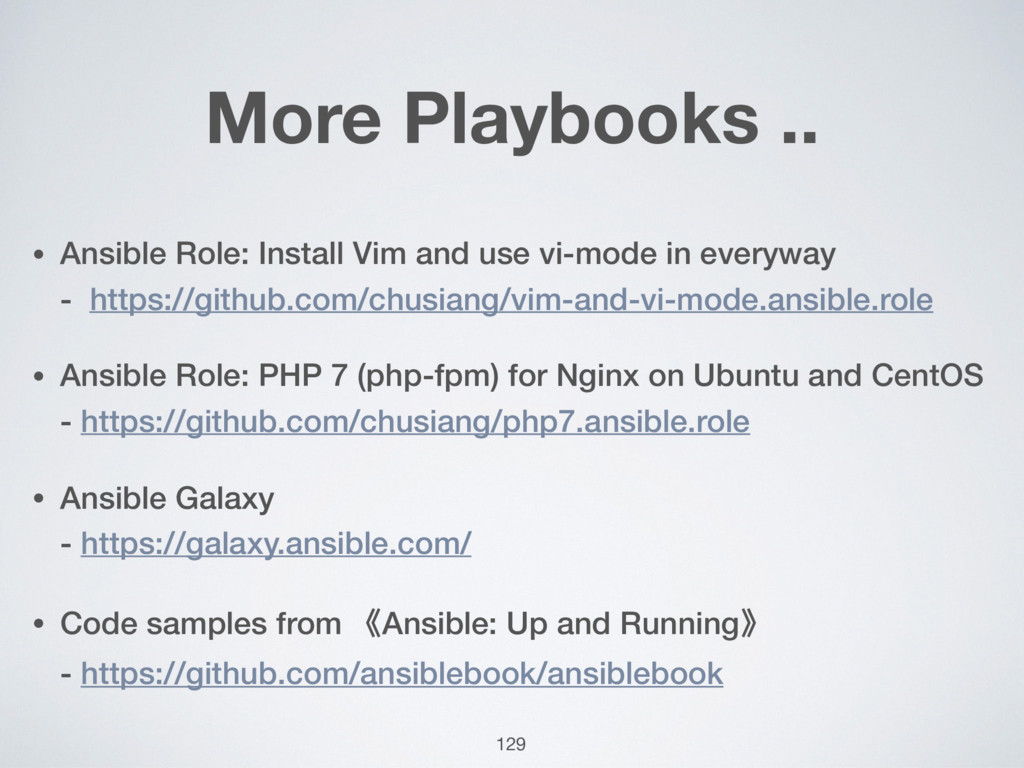 More Playbooks .. • Ansible Role: Install Vim a...