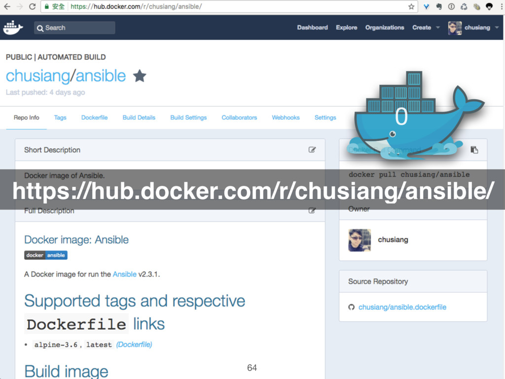 https://hub.docker.com/r/chusiang/ansible/ 0 64