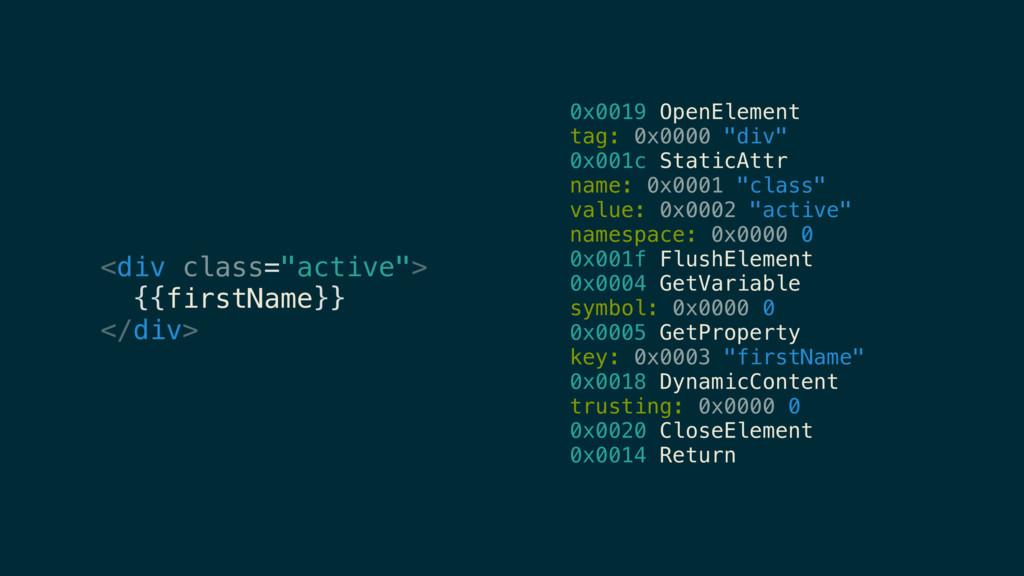 "0x0019 OpenElement tag: 0x0000 ""div"" 0x001c Sta..."