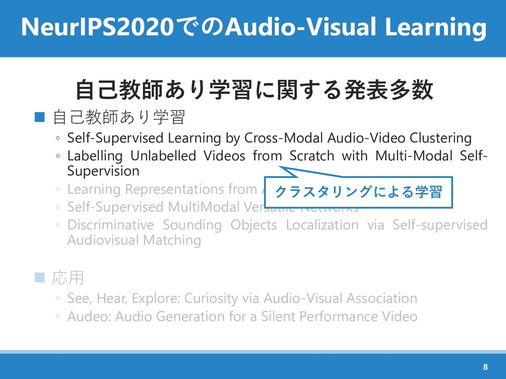 NeurIPS2020でのAudio-Visual Learning 自己教師あり学習に関する...