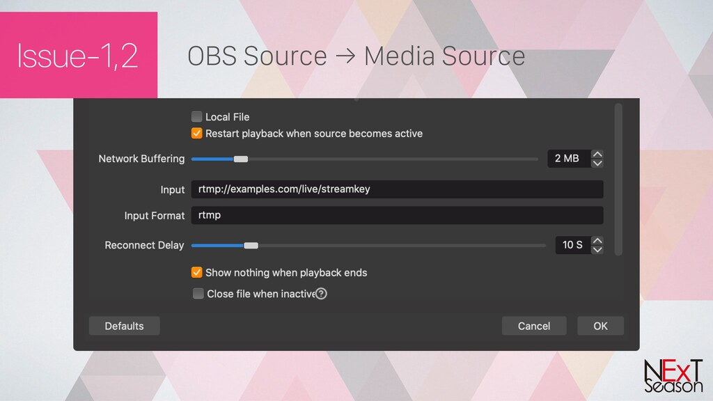 Issue-1,2 OBS Source → Media Source