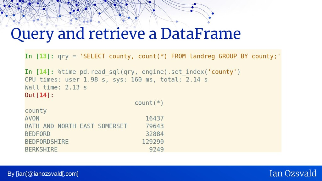 Query and retrieve a DataFrame By [ian]@ianozsv...