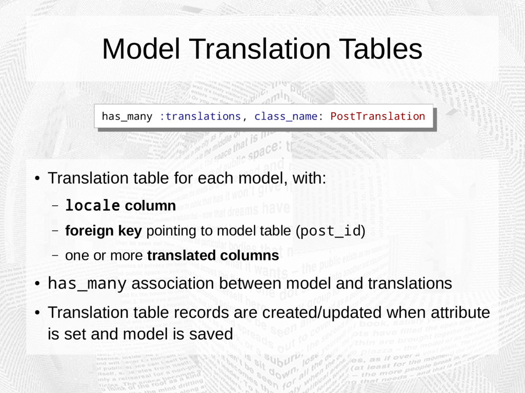 Model Translation Tables ● Translation table fo...